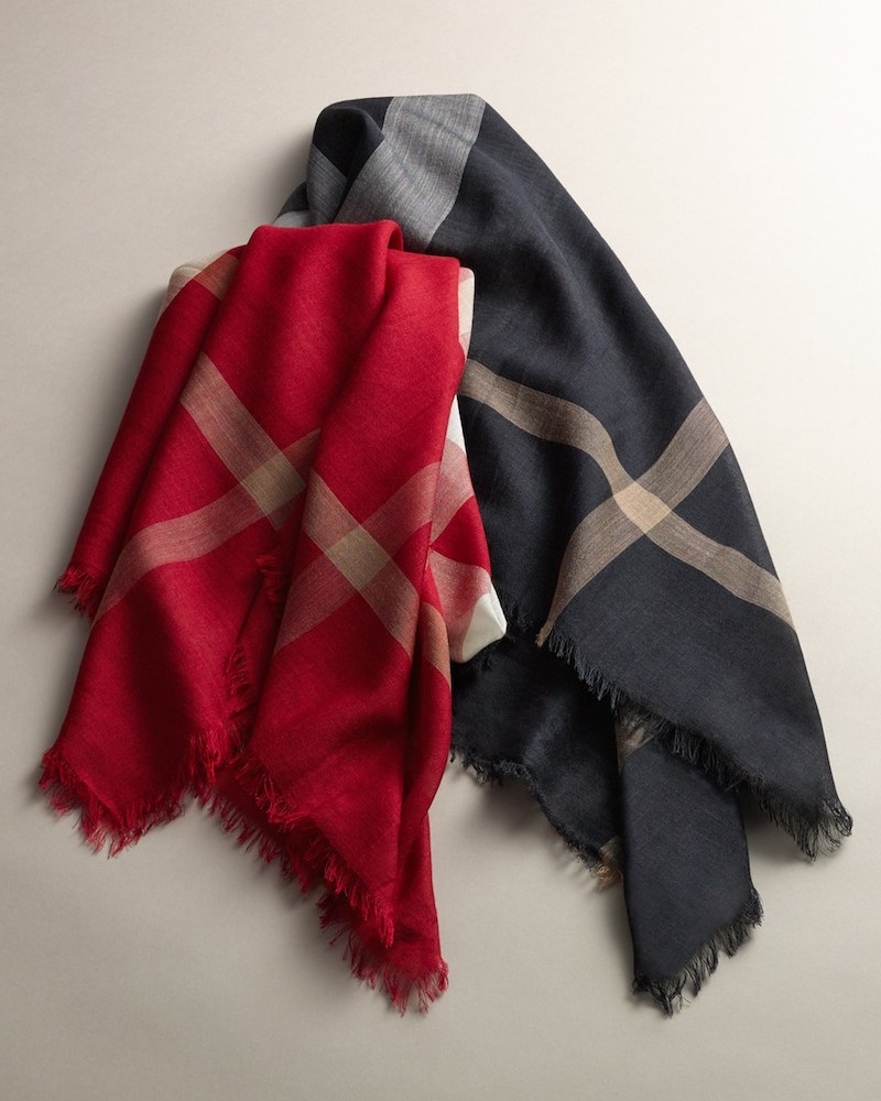 Burberry Check Wool & Silk Square Scarf