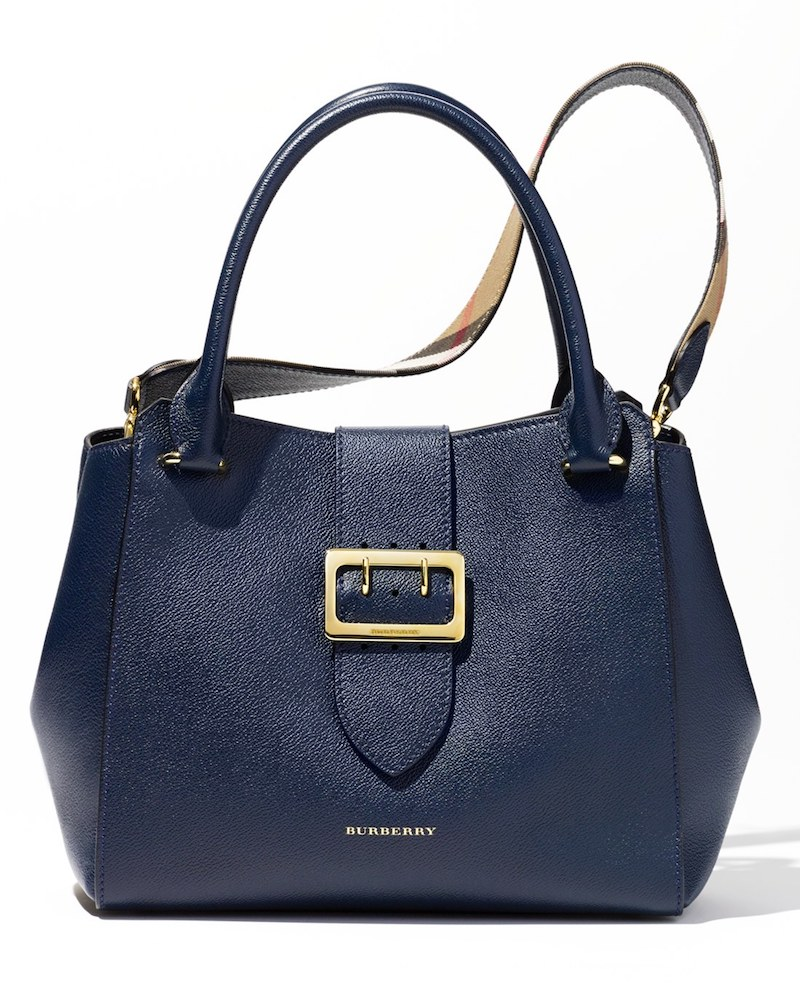 Burberry Medium Buckle Calfskin Leather Tote