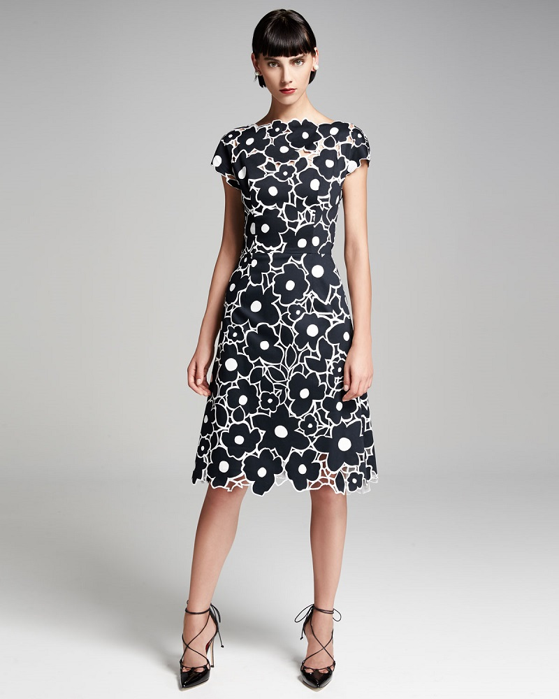 Carolina Herrera Floral Cutout Cap-Sleeve Cocktail Dress
