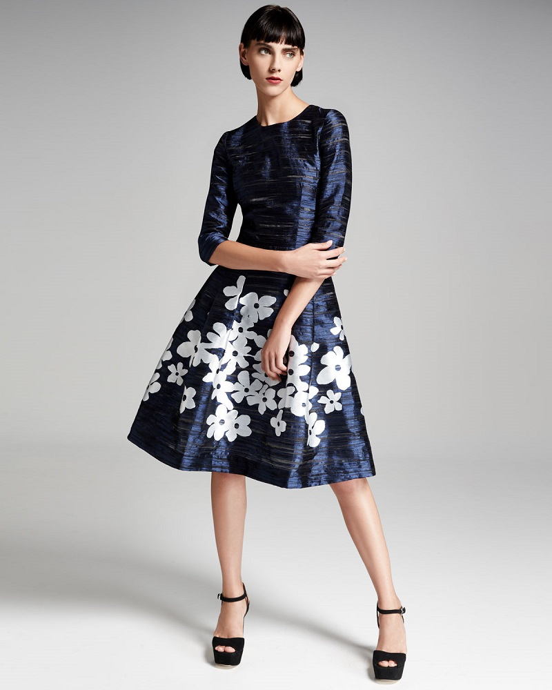 Carolina Herrera Floral-Skirt 34-Sleeve Cocktail Dress