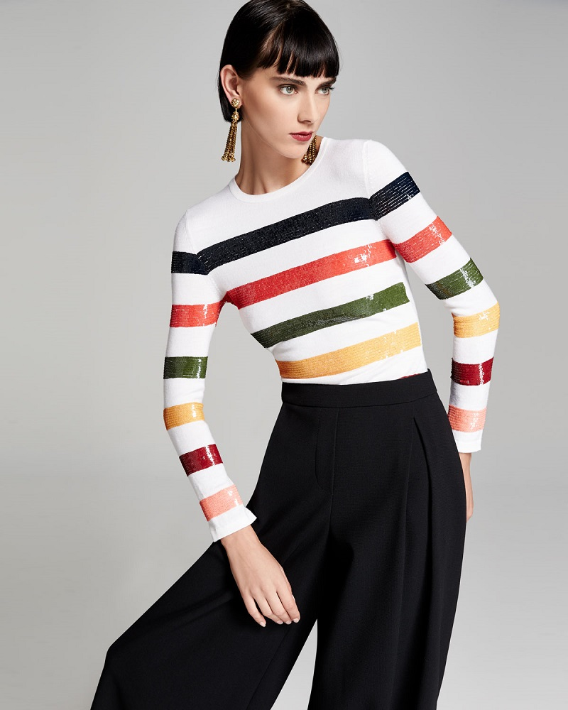 Carolina Herrera Sequin-Striped Crewneck Sweater