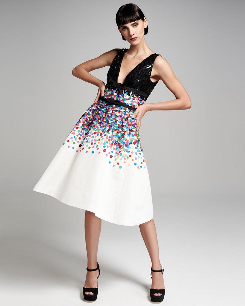 Carolina Herrera Sequined Sleeveless Cocktail Dress