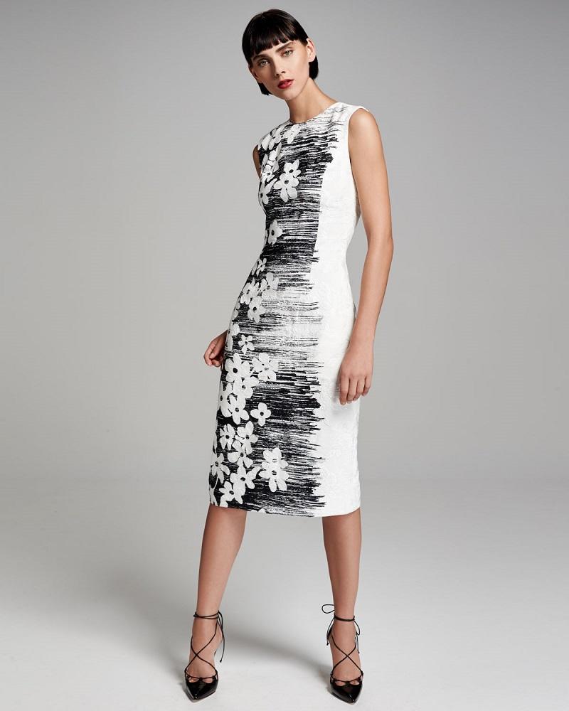 Carolina Herrera Sleeveless Floral Sheath Dress