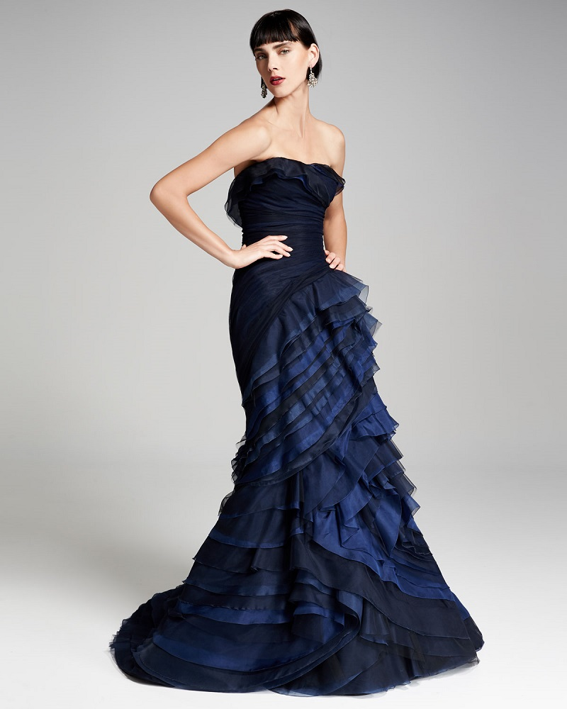 Carolina Herrera Strapless Ombre Ruffled Gown