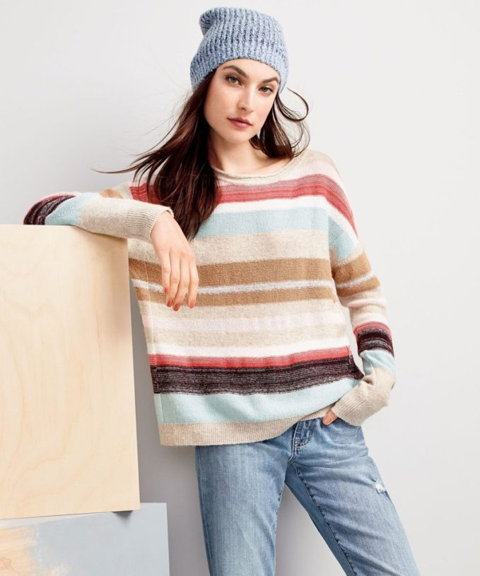 Caslon Back Button Stripe Knit Sweater