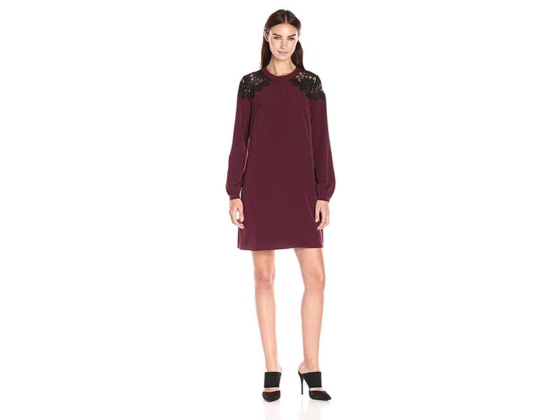 CeCe by Cynthia Steffe Jasmin Long-Sleeve Lace-Shoulder Dress