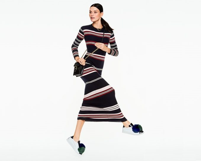Chinti and Parker Rib Striped Long Dress