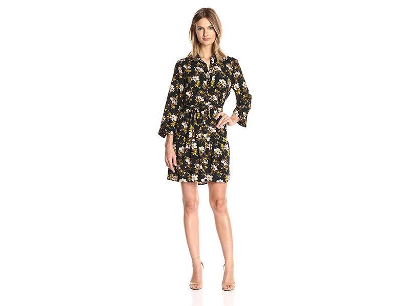 Collective Concepts Print Long-Sleeve Dress with Button Placket and Tie Waist