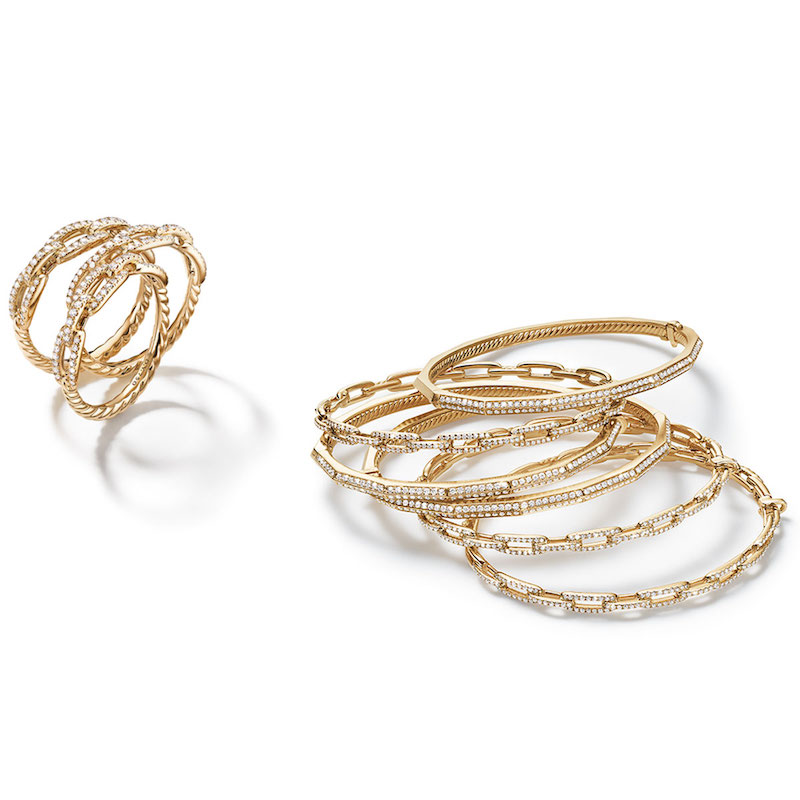 David Yurman 4.5mm Stax 18K Chain Link Ring with Diamonds