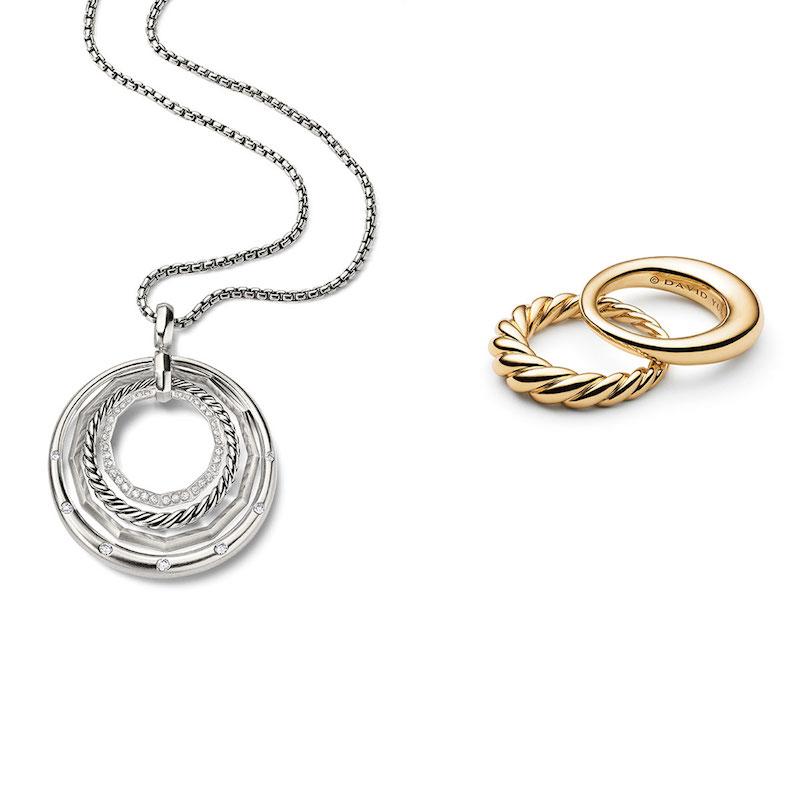 David Yurman Stax Round Pendant Necklace with Diamonds