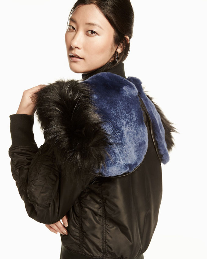 Derek Lam 10 Crosby Hooded Fur-Trim Tech Jacket