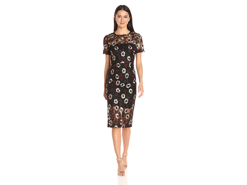 Donna Morgan Floral Embroidered Mesh Midi