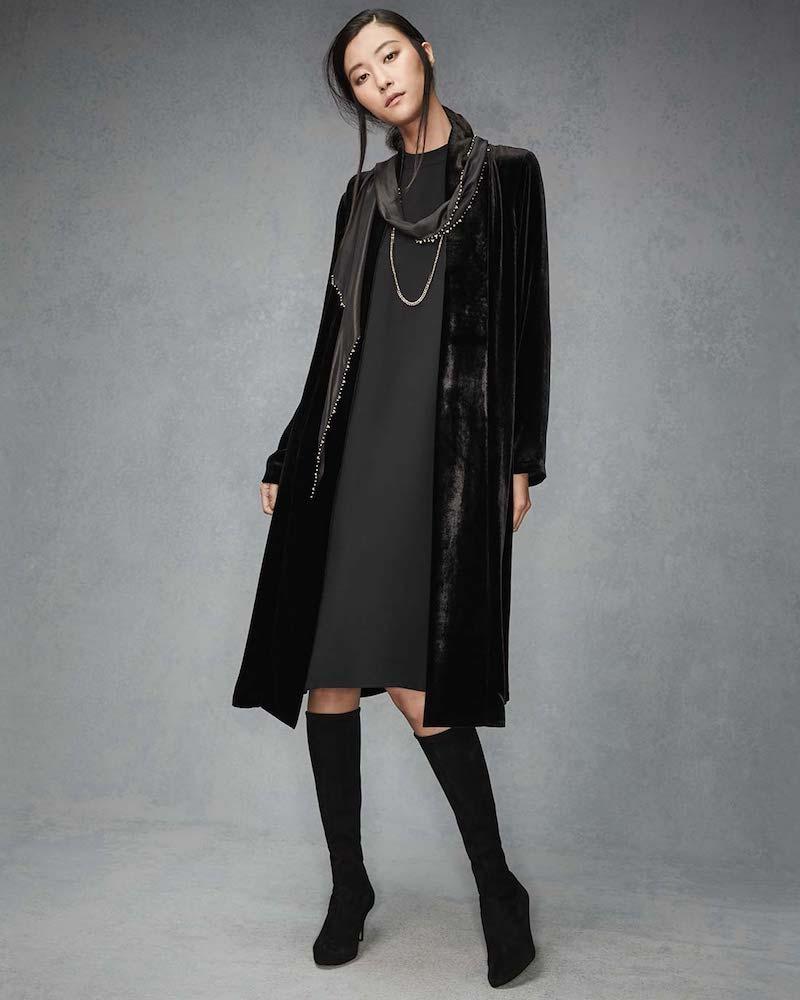 Eileen Fisher Silk High-Neck Knee-Length Dress