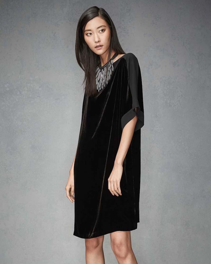 Eileen Fisher Velvet Boat-Neck Kimono Dress