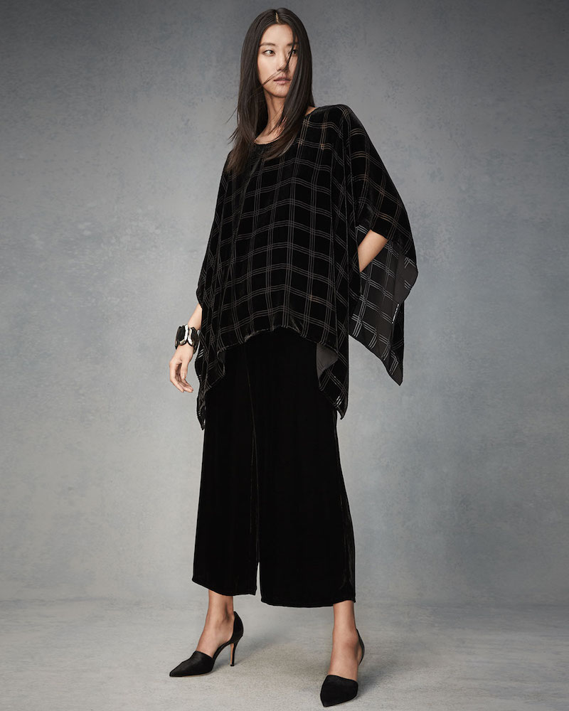 Eileen Fisher Velvet Plaid Burnout Poncho