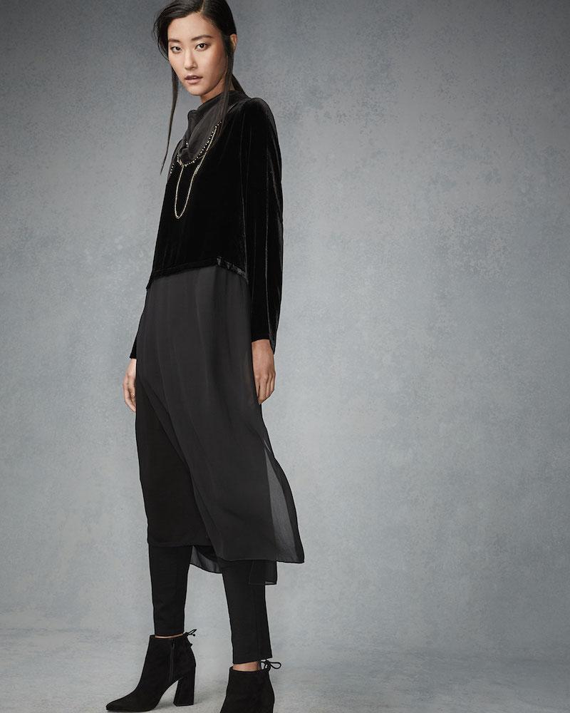 Eileen Fisher Washable Velvet Long-Sleeve Duster Dress