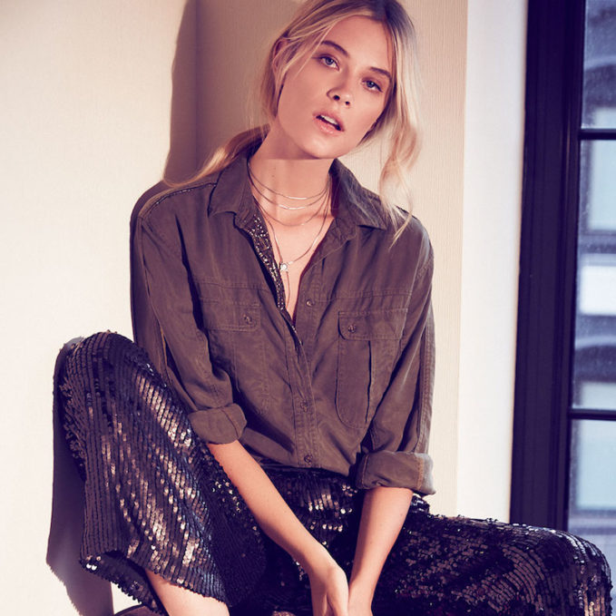 Free People Off Campus Button Down Blouse