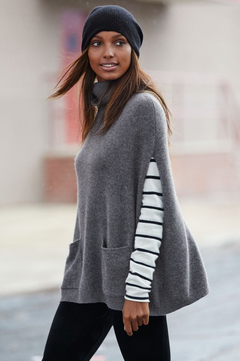 Halogen Knit Cashmere Turtleneck Poncho