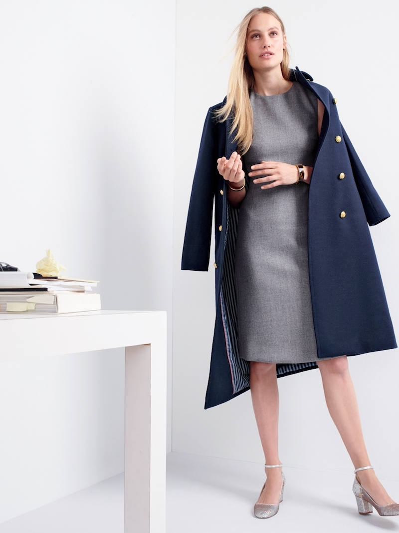 J.Crew A-Line Dress In Double-Serge Wool