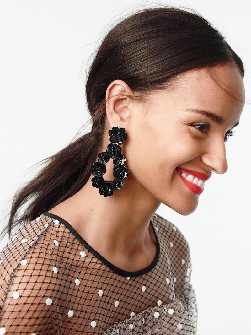 J.Crew Leather-Backed Sequin Petal Earrings