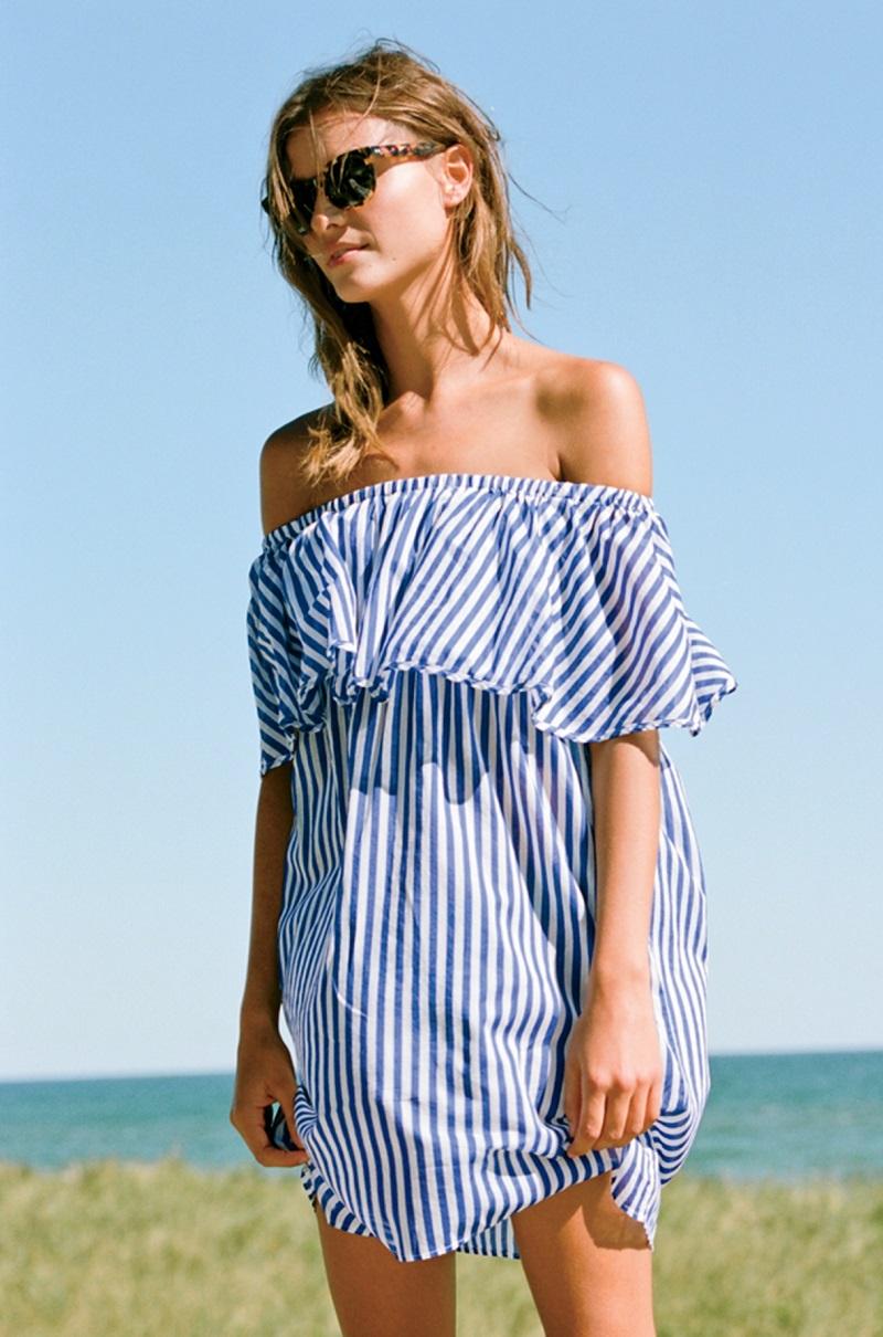 J.Crew Off-The-Shoulder Bold Striped Dress