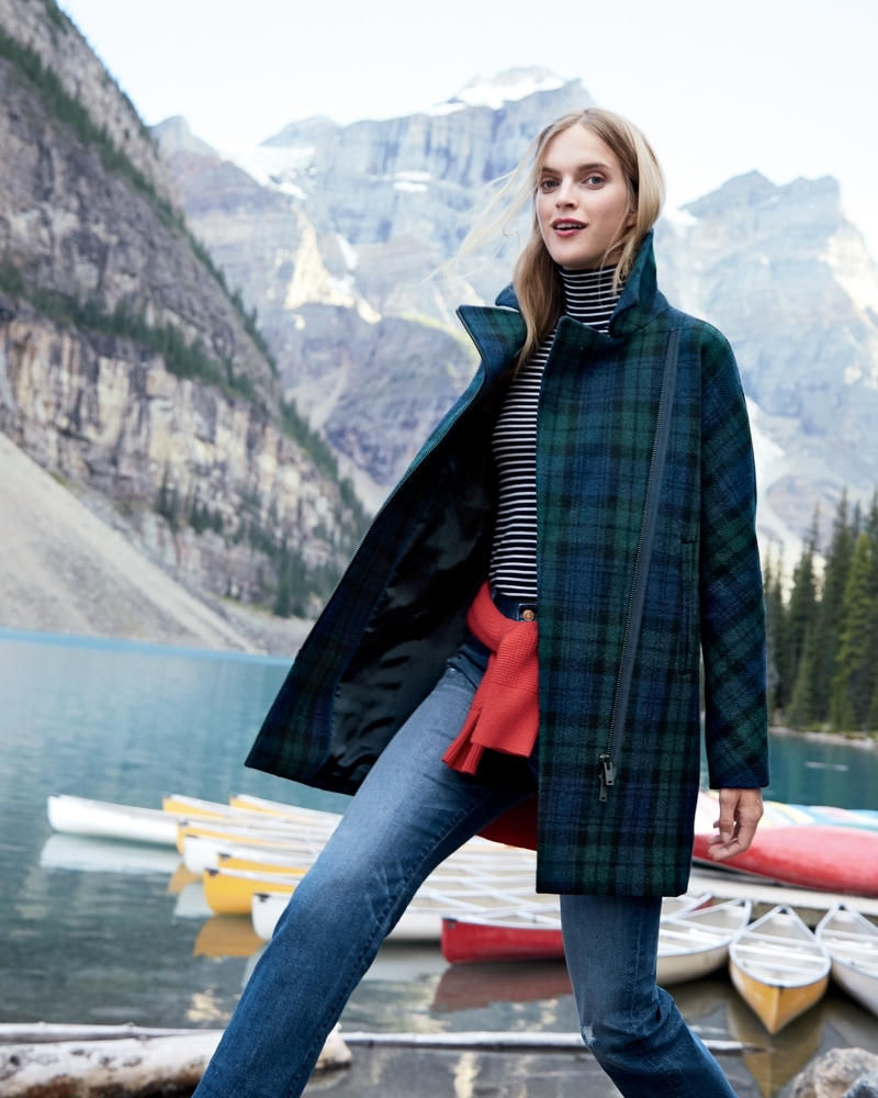 J.Crew Zippered Coat In Black Watch Tartan