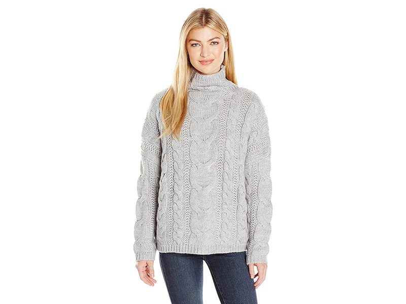 J.O.A. Long Sleeve Cable Turtleneck Sweater