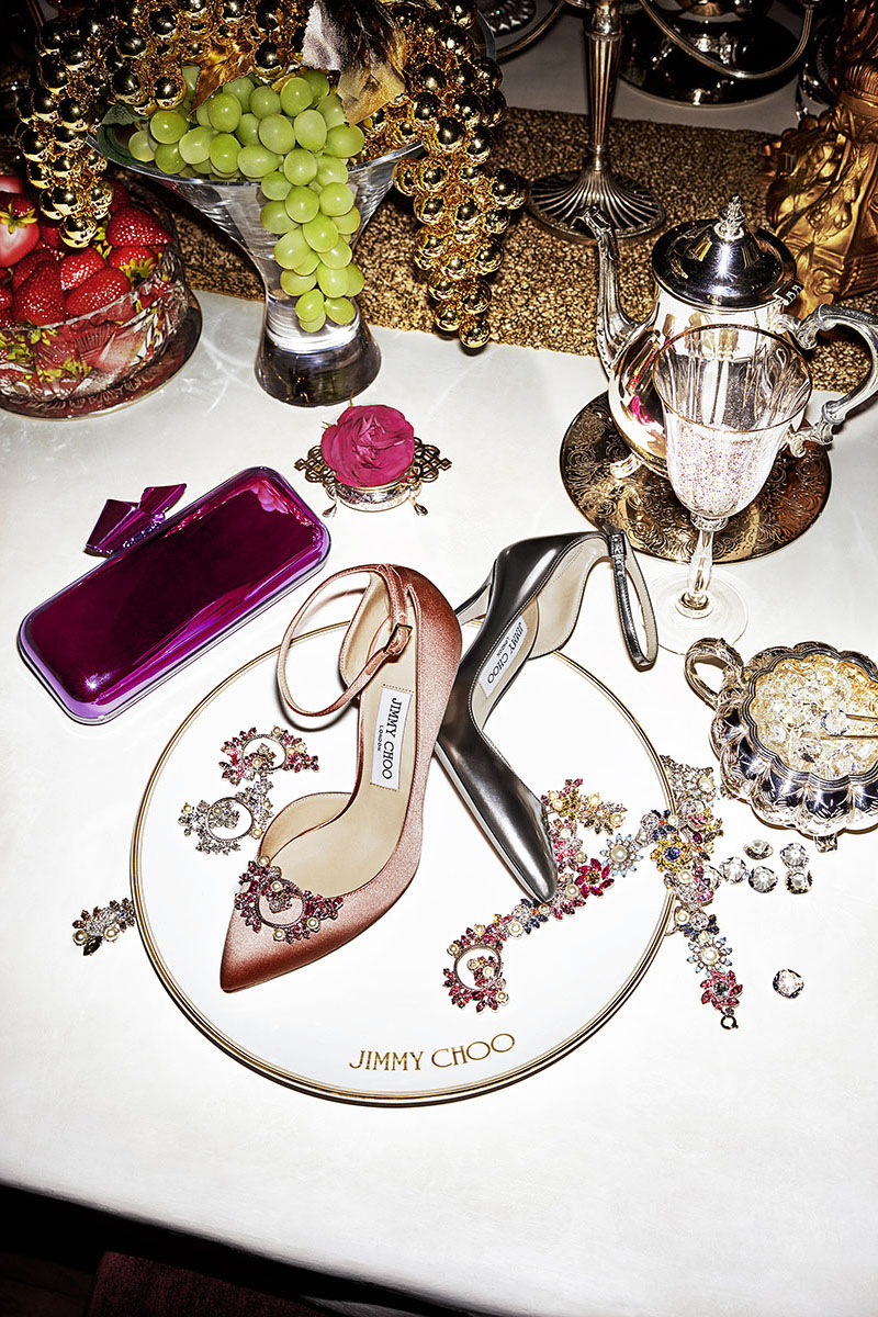 JIMMY CHOO Rosa 100 Steel Mirror Leather Pointy Toe Pumps with Crystal Mix Clip On Jewels