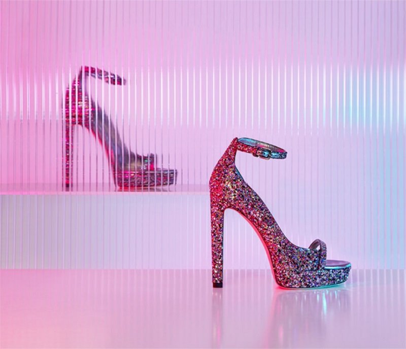 Jimmy Choo Lolly 130 coarse glitter heeled sandals