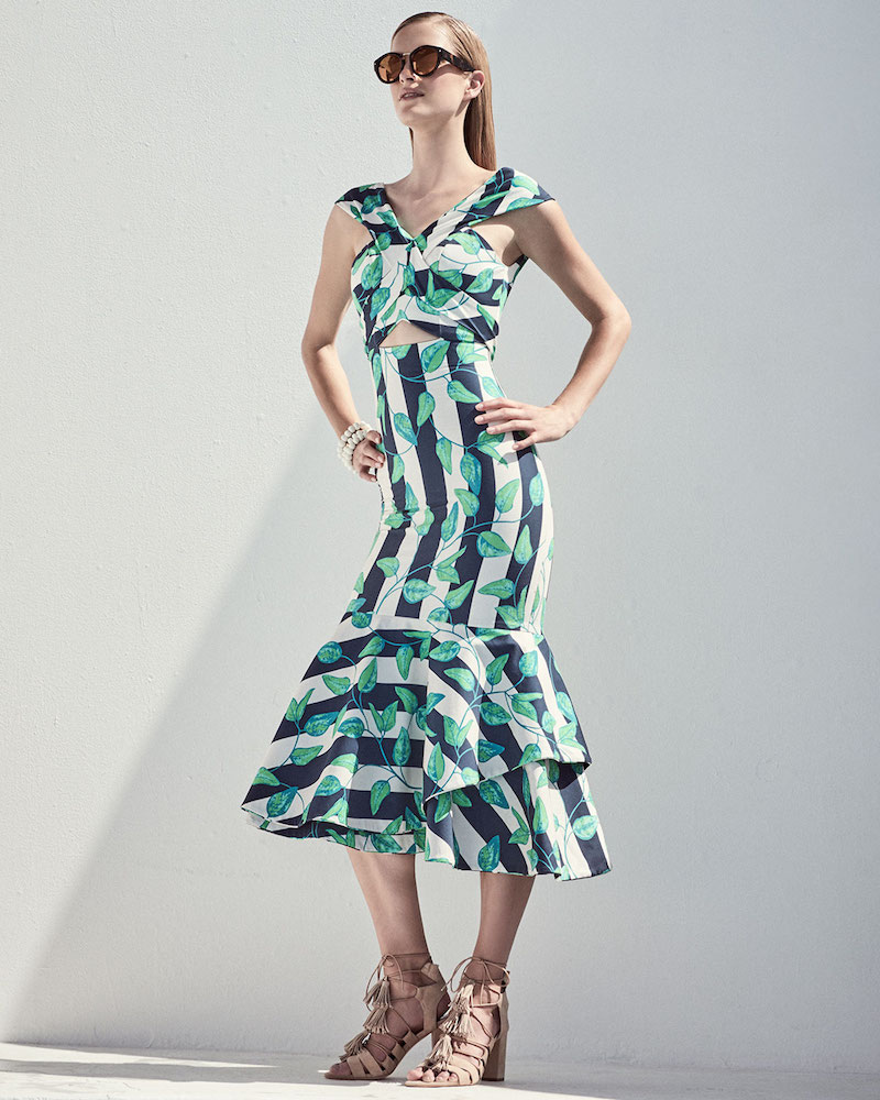 Johanna Ortiz Belice Leaf-Print Tiered-Hem Midi Dress