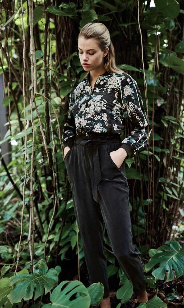 Joie Mace Silk Floral-Print Bomber Jacket
