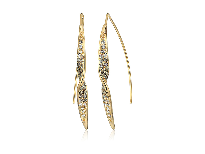 Judith Jack Twist and Turn Sterling Silver/Swarovski Marcasite Gold-Tone Twist Threader Drop Earrings