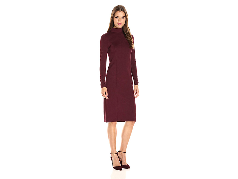 Kensie Ponte Long Sleeve Midi Dress