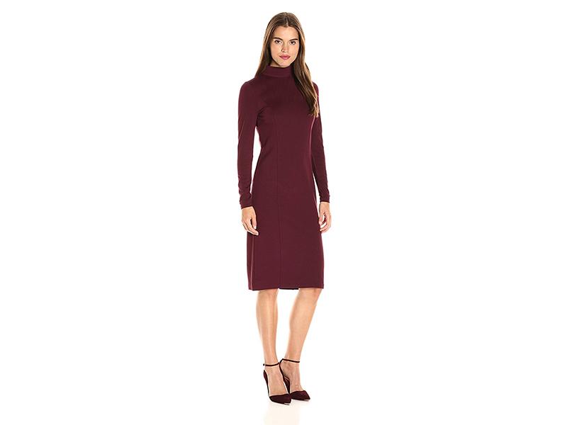 Kensie Ponte Long Sleeve Midi Dress
