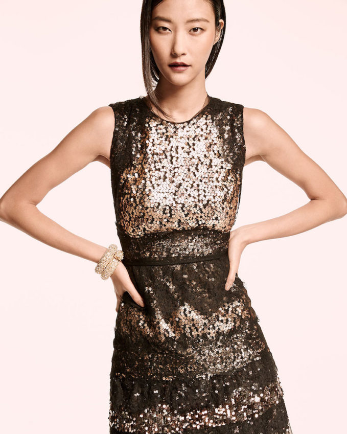 Kobi Halperin Sleeveless Tiered Lace & Sequin Cocktail Dress