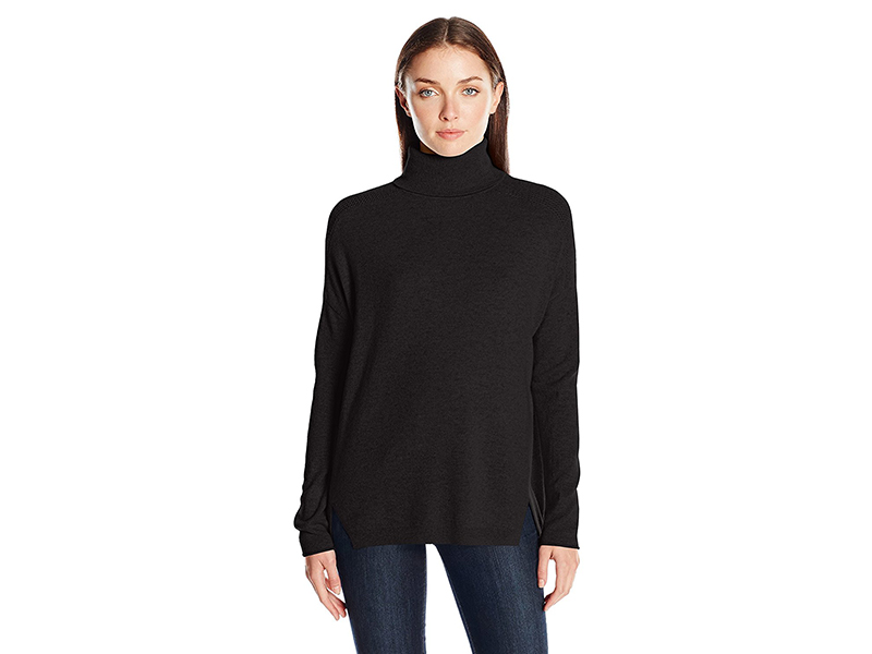 Lark & Ro 100% Cashmere Relaxed-Fit Turtleneck Sweater