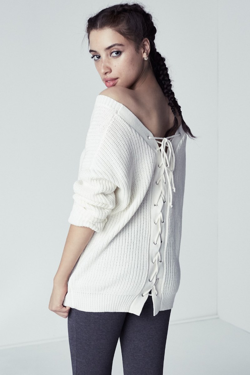 Love by Design Lace-Up Back Sweater