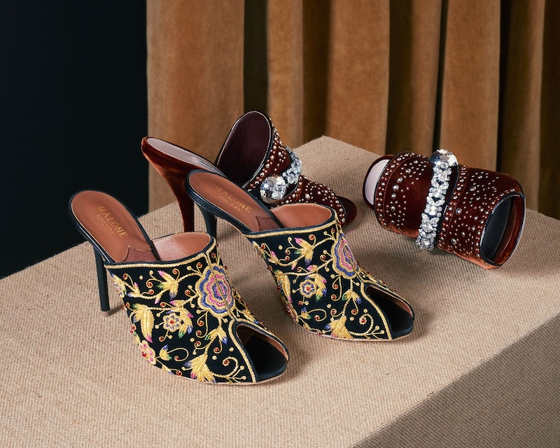 Malone Souliers Dawn Embroidered Velvet Mules
