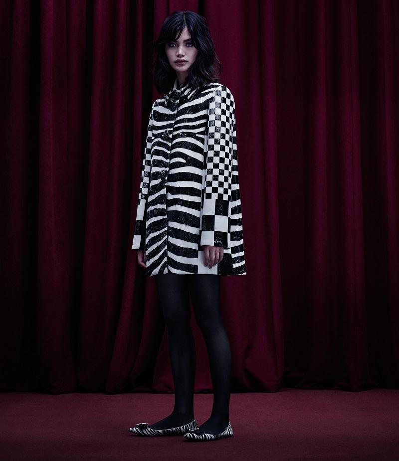 Marc Jacobs Checked & Zebra-Print Wool Coat