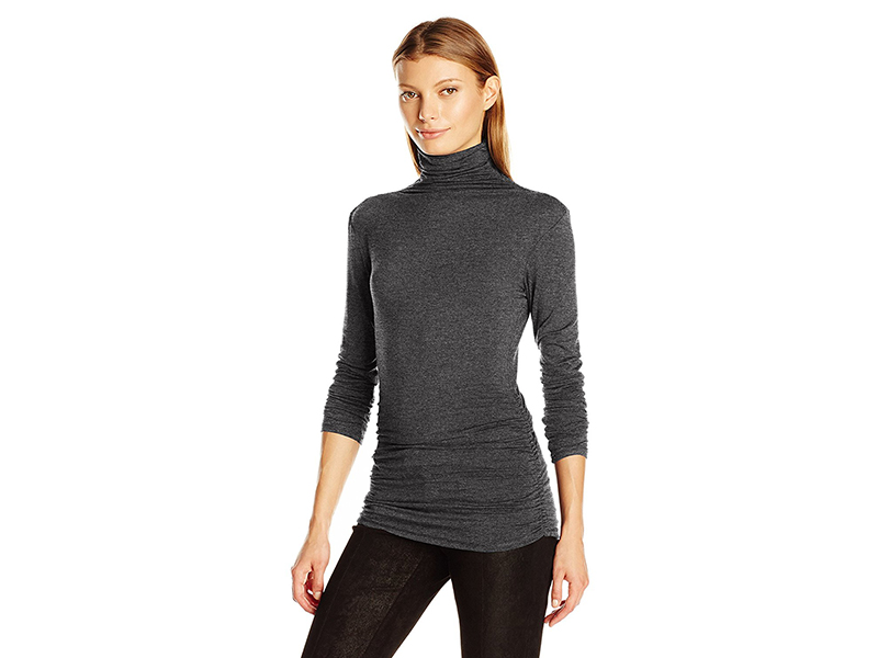 Max Studio Long Sleeve High Neck High Twist Heather Jersey Top