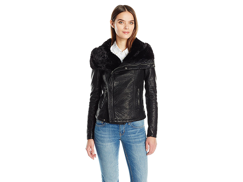 Members Only Faux Leather Moto Jacket with Faux Fur Collar