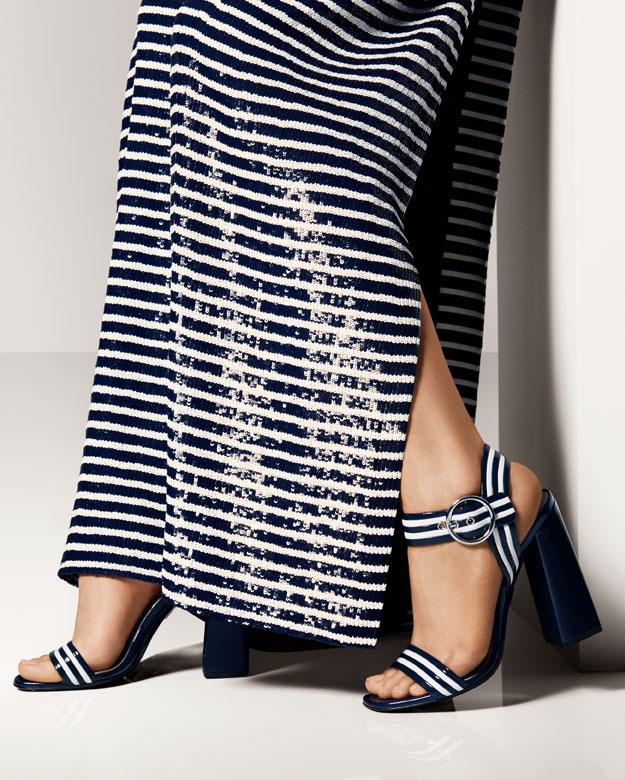 Michael Kors Desi Striped Leather Sandal