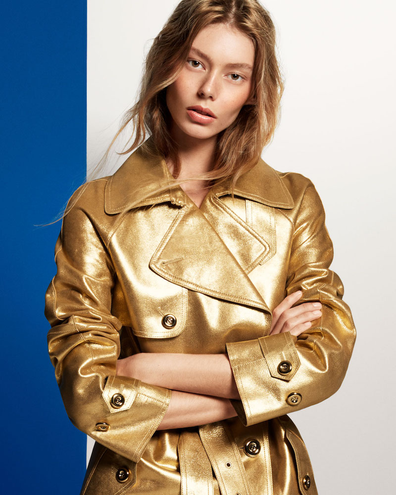 Michael Kors Leather Jacket in Gold