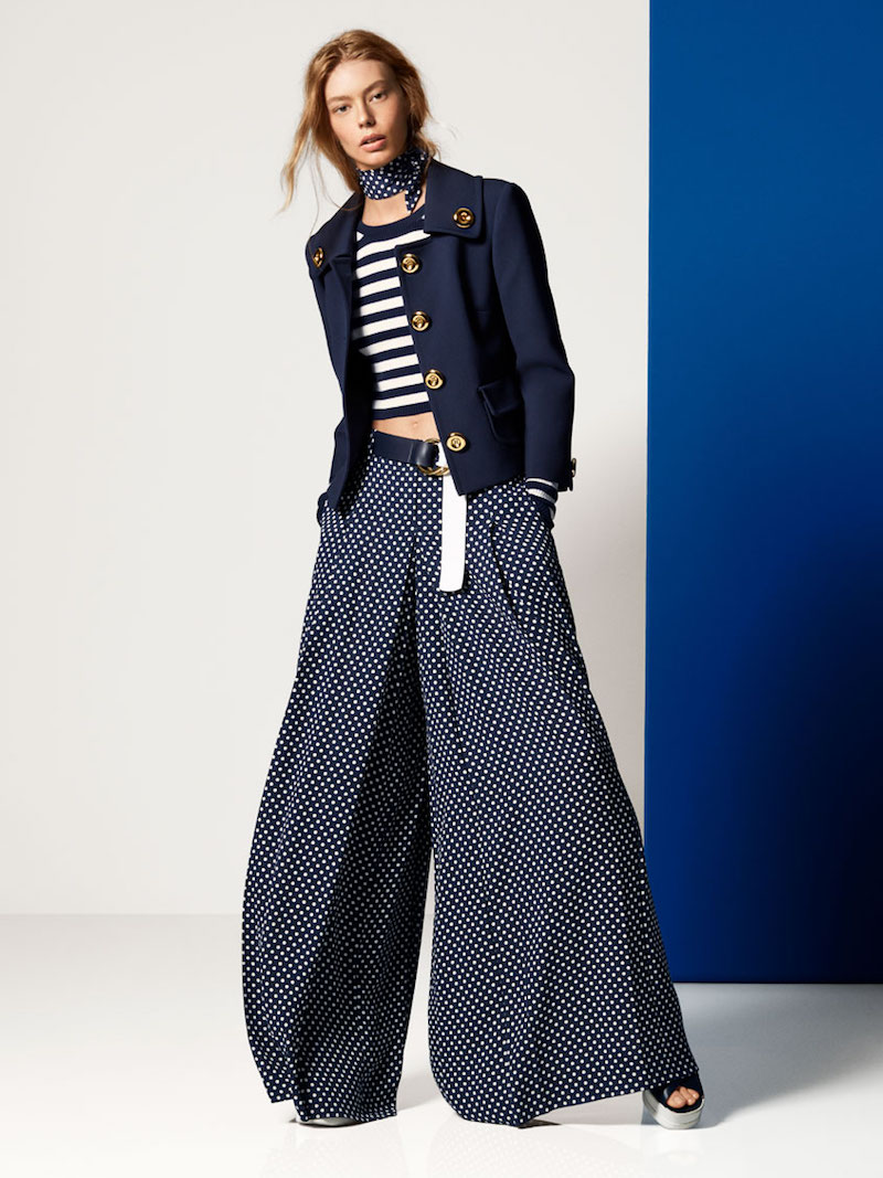 Michael Kors Polka Dot Silk-Georgette Palazzo Trousers
