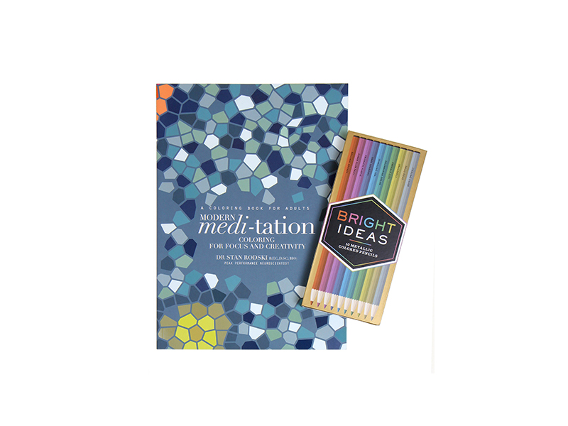 Modern Meditation Coloring Book with Bright Ideas Metallic Colored Pencils