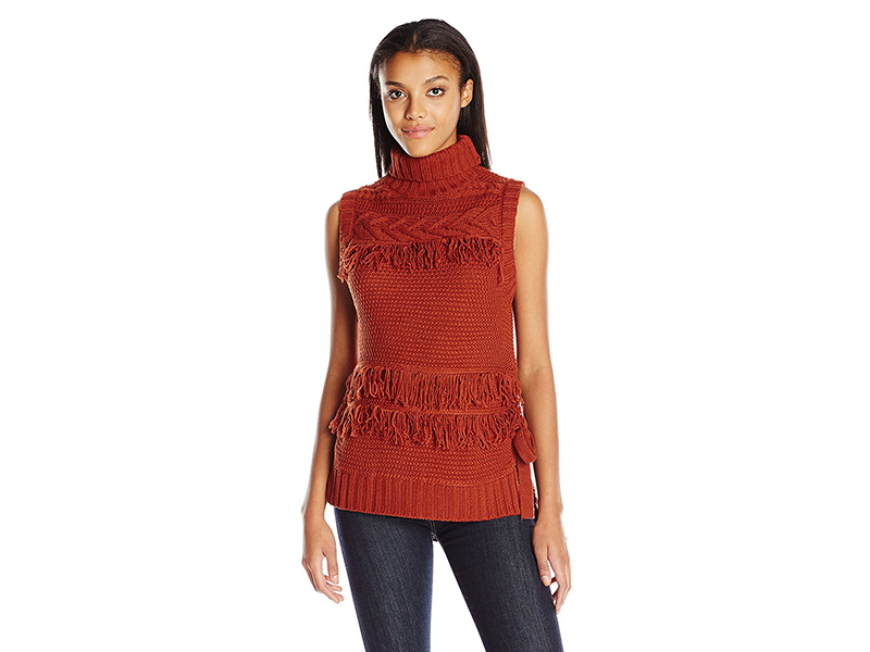 Moon River Turtleneck Sleeveless Sweater with Fringe Detail