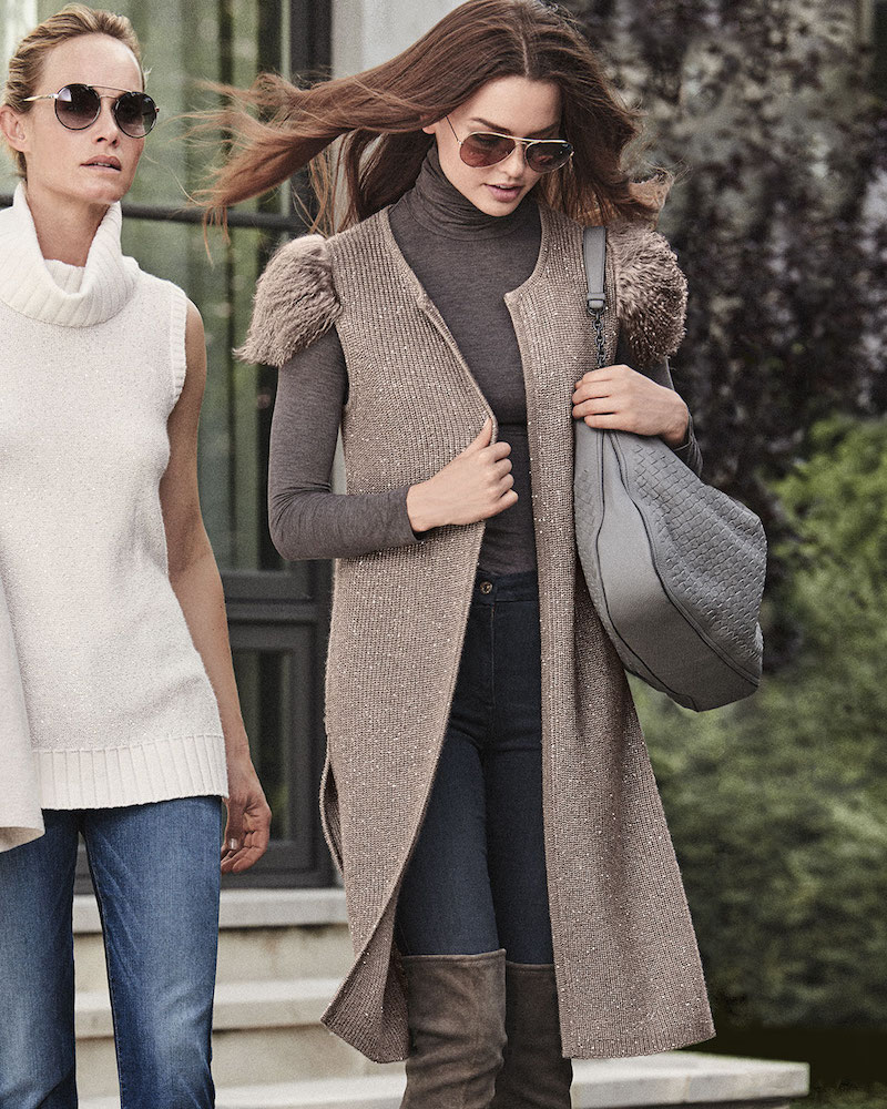 Neiman Marcus Cashmere Collection Mongolian-Shoulder Long Cashmere Vest