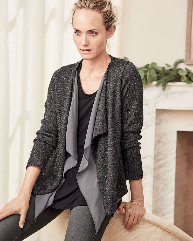 Neiman Marcus Cashmere Collection Sequined Cashmere Drape Cardigan