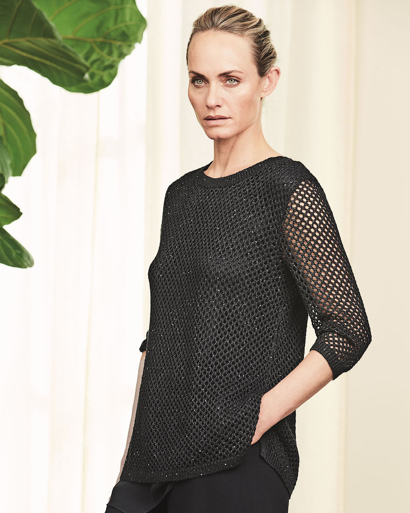 Neiman Marcus Cashmere Collection Sequined Open-Weave Cashmere Top