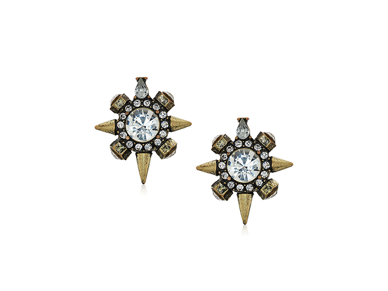 Panacea Antique Gold Pave Crystal Stud Earrings